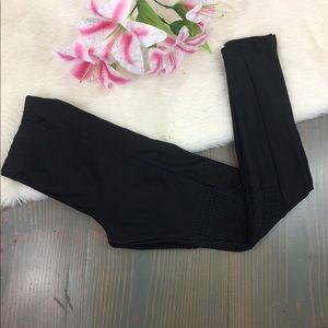 UOF Black leggings w/Lazer Cut Knee Detailing